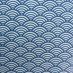 Coated Cotton Oilcloth Fans Navy Blue