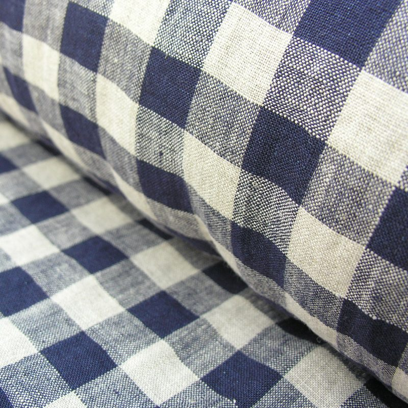 Washed Linen Check Navy