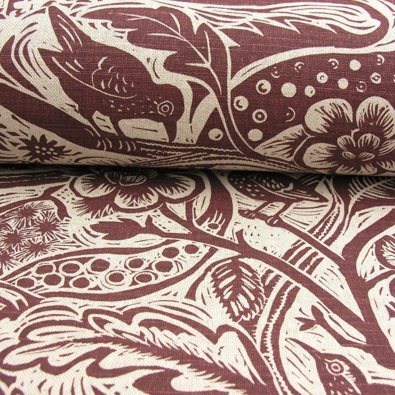 Mark Hearld - Linen Union Fabric, Wren; Burgundy