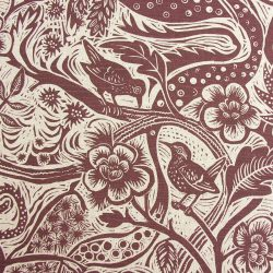 Mark Hearld - Linen Union Fabric, Wren; Burgundy