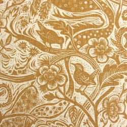 Mark Hearld - Wren; Heavyweight Linen Ochre