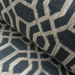 Lattice Upholstery Fabric Navy and Ivory