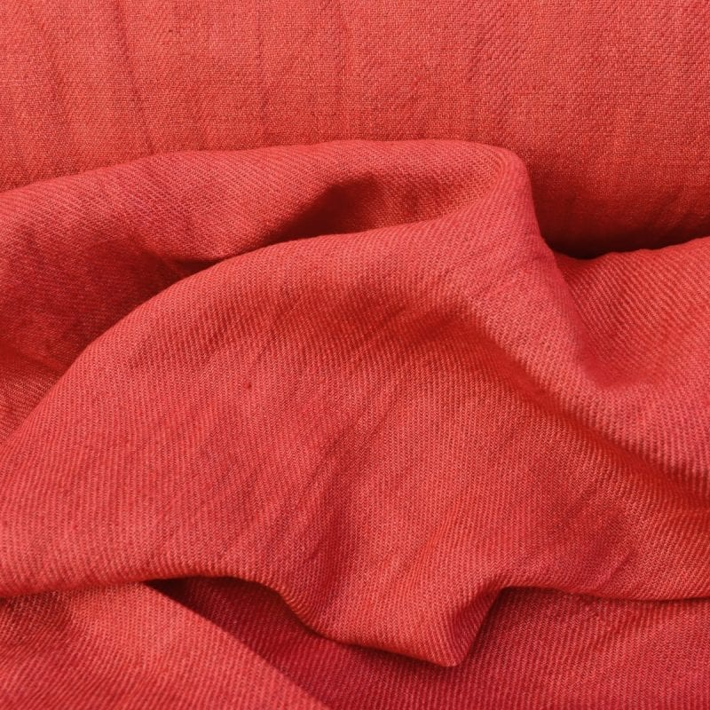 Hand-Dyed Linen Twill - Red