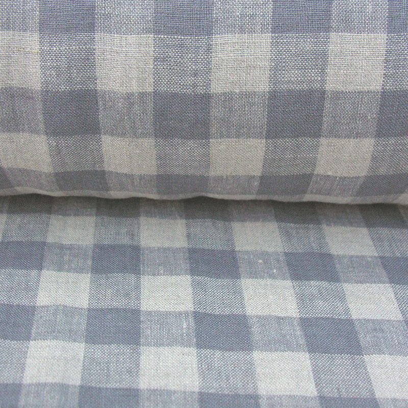 Washed Linen Check Grey
