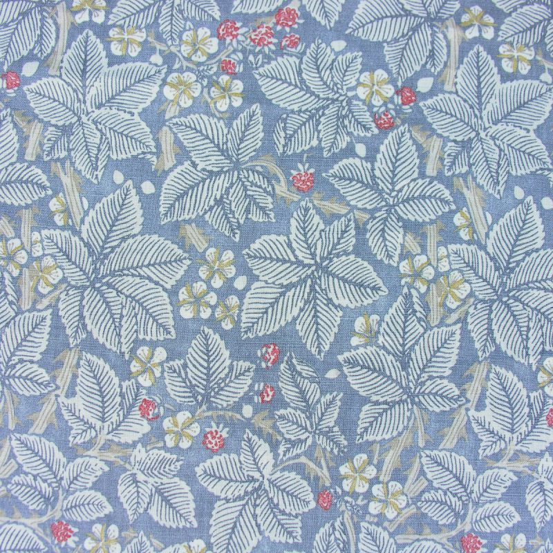William Morris Linen Print Bramble Light Blue and Red