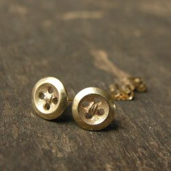 Gold Button Earrings - 9ct Gold  EX169