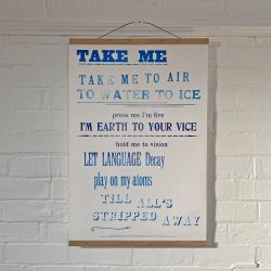 Tilley Letterpress Take Me Poster Tinsmiths
