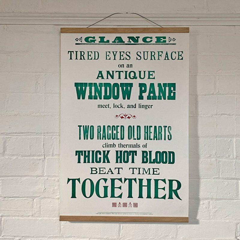 Tilleys Letterpress Glance Poster Tinsmiths