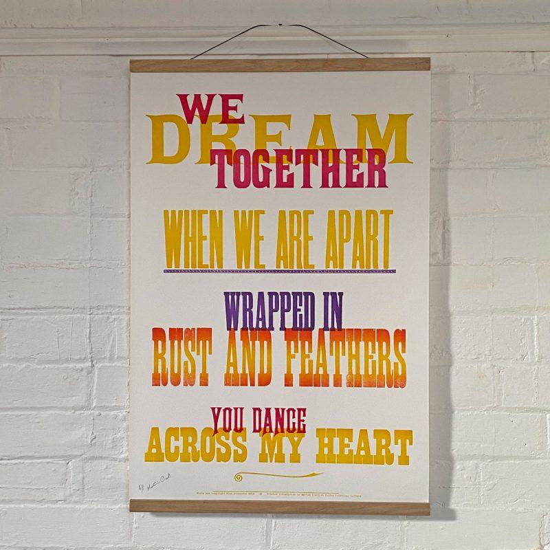 Tilley Letterpress We Dream Poster Tinsmiths