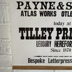 Tilley Letterpress Wharfdale Poster Tinsmiths