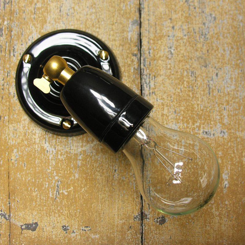 Adjustable Porcelain Wall/Ceiling Light: Black