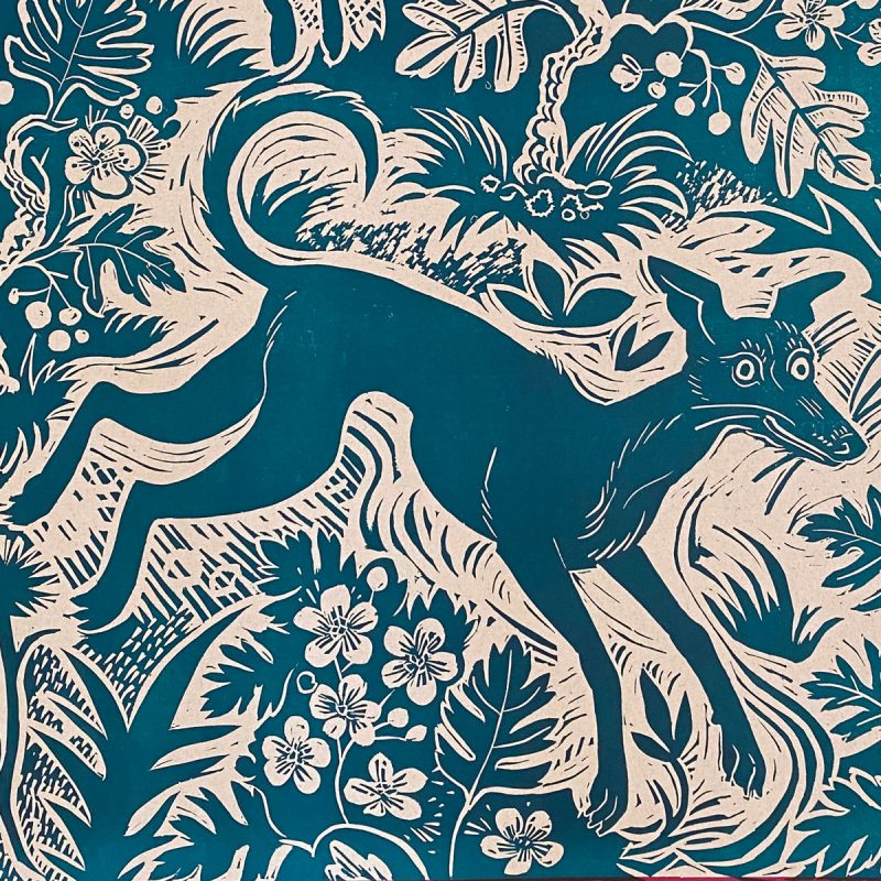 Mark Hearld Papier Dominote - Blue Whippet