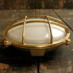Bulkhead Frosted Large Round Brass