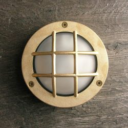 Round Bulkhead Light Diecast Brass with Crossguard