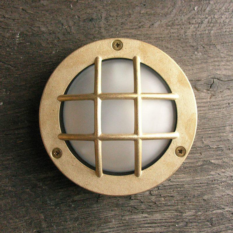 Round Bulkhead Light Diecast Brass with Crossguard