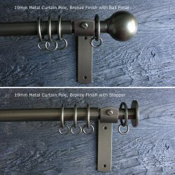 Curtain Pole Set - Bronze Metal 19mm