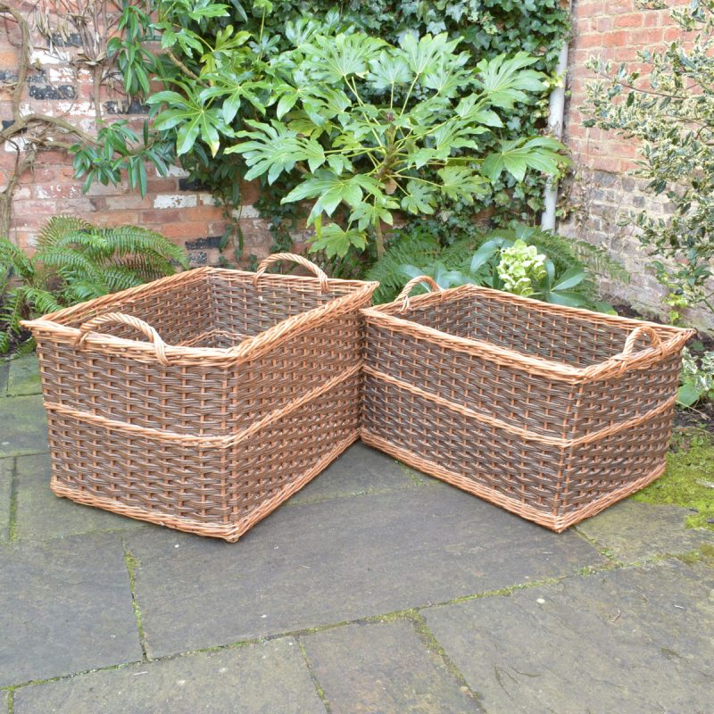 Large Rectangular Willow Log Baskets - Brown