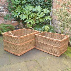 Large Rectangular Willow Log Baskets - Green