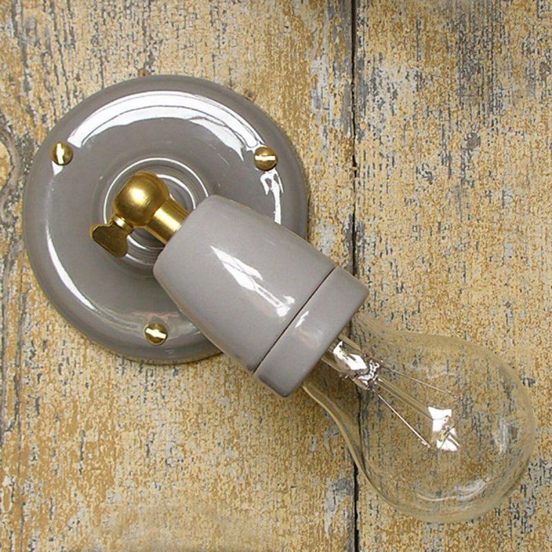Adjustable Porcelain Wall/Ceiling Light: Grey