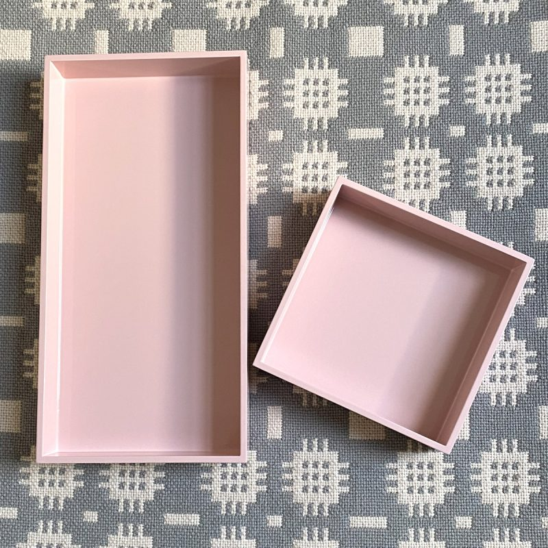 Oblong Lacquer Tray - Rose Pink
