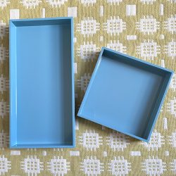 Oblong Lacquer Tray - Topaz Blue