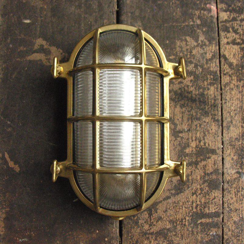 Polished Brass Bulkhead Light - Large