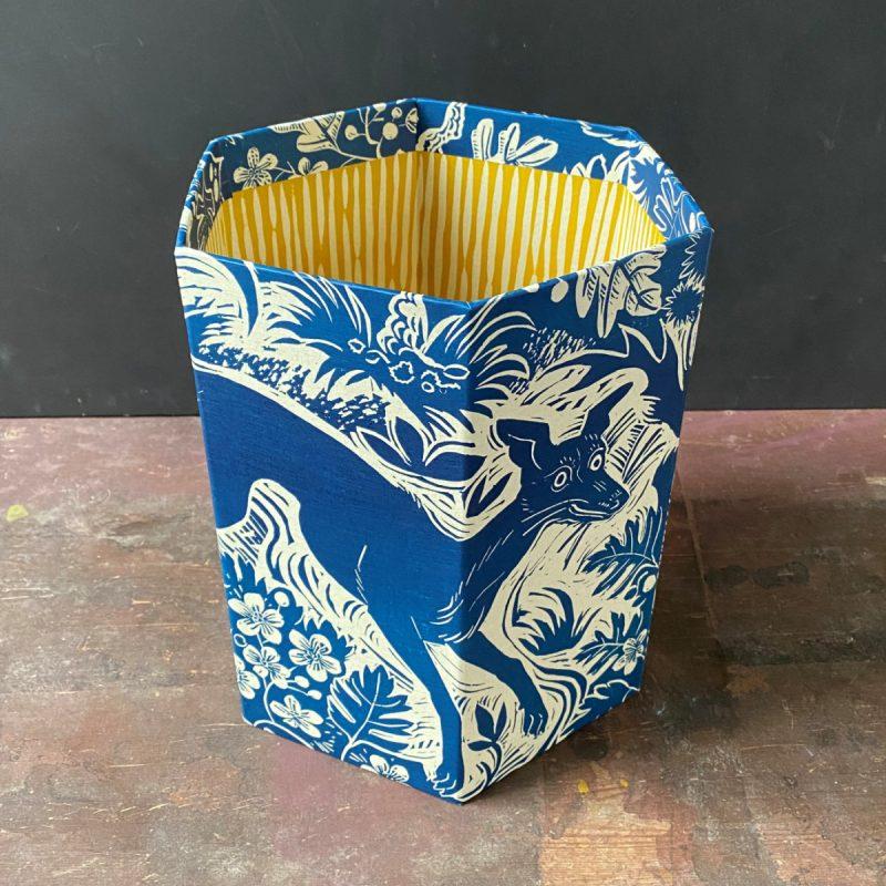 Mark Hearld Blue Whippet Waste Paper Bin