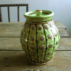 Slipware Jar, Green 5 sprig by Paul Young