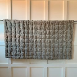 Small Velvet Quilted Bedcover - Stone