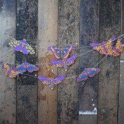 Screen printed Paper Garland - Moth