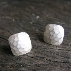 Square Silver Faceted Stud Earrings - Bright EX13