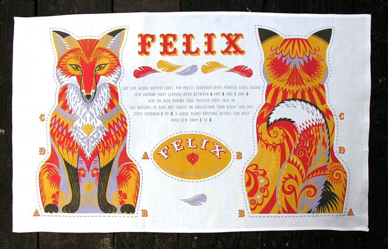 Printed Cotton Teatowel - Felix The Fox