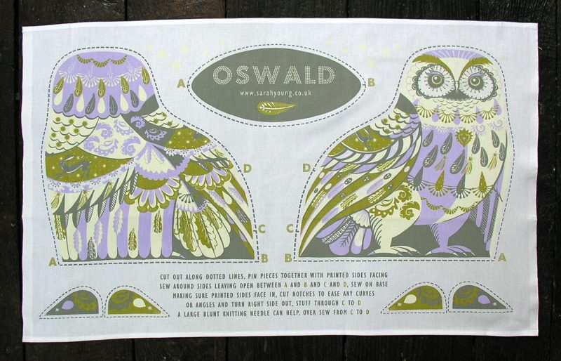 Printed Cotton Teatowel - Oswald The Owl