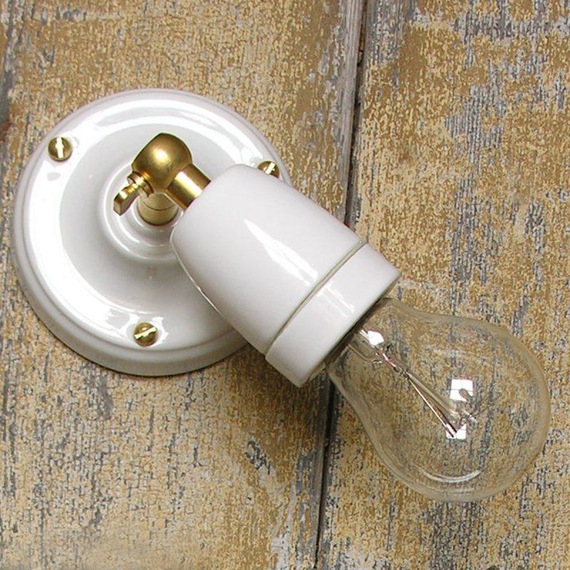 Adjustable Porcelain Wall/Ceiling Light: White