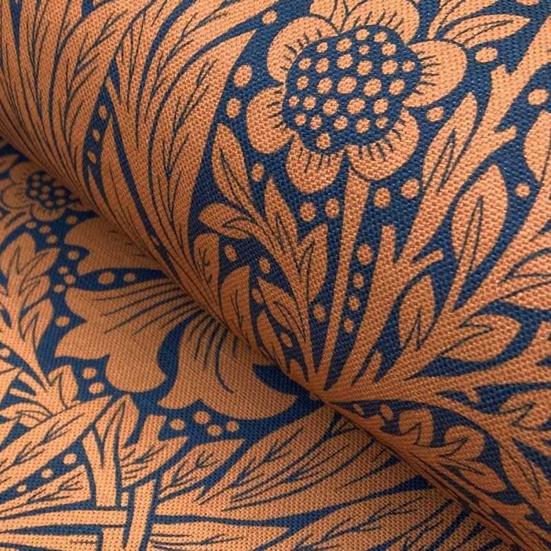 Marigold Navy Burnt Orange Ben Pentreath William Morris Tinsmiths Natural Fabric