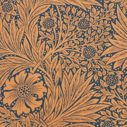 William Morris Marigold Navy Burnt Orange Ben Pentreath Tinsmiths Natural Fabric