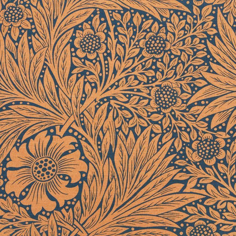 William Morris Marigold Navy Burnt Orange Ben Pentreath Tinsmiths Natural Fabric