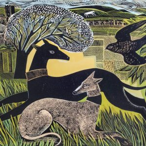 Two Yorkshire Whippets print by Angela Harding