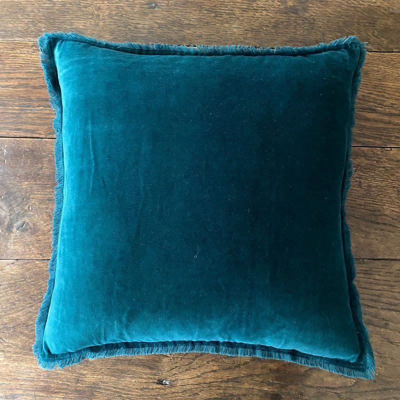 Fringed Velvet Cushion - Teal