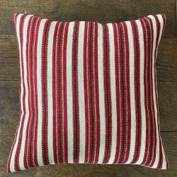 Handwoven Red Striped Cushion