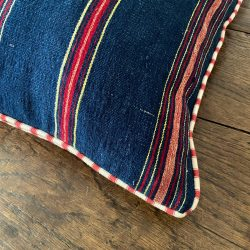 Vintage Handwoven Cushion with Peony Ticking