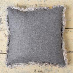 Curly Sheepskin Cushion - Greys
