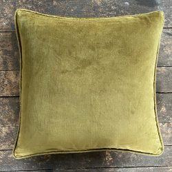 Velvet Cushion - Olive Green
