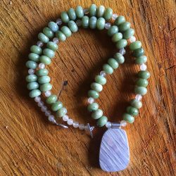 Clare de la Torre Necklace Silver Jade beads