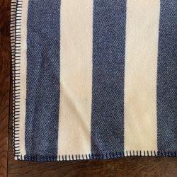 Blanket Stitched Welsh Blanket - Navy Stripe