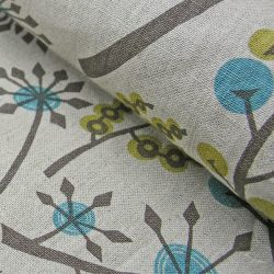 Angie Lewin Hedgerow Linen, Blue & Green - Remnant - REMMAR32
