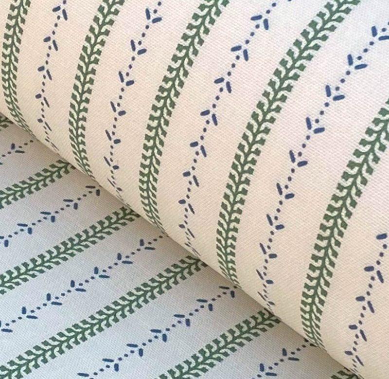 Maya Stripe - Leaf Green and Indigo