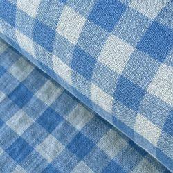 Washed Linen Check Denim Blue