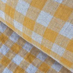 Washed Linen Check saffron