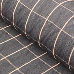 Handwoven Linen Check - Charcoal and Pink